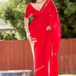 Sunny Leone Spicy Images In Red Saree (2)