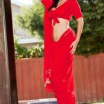 Sunny Leone Spicy Images In Red Saree (4)