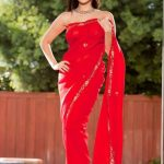 Sunny Leone Spicy Images In Red Saree (8)