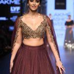 Mumbai: Actress Ileana D`Cruz displays the creation of fashion designer Ridhi Mehra during the Lakme Fashion Week Winter Festive 2016, in Mumbai on Aug 28, 2016. (Photo: IANS)