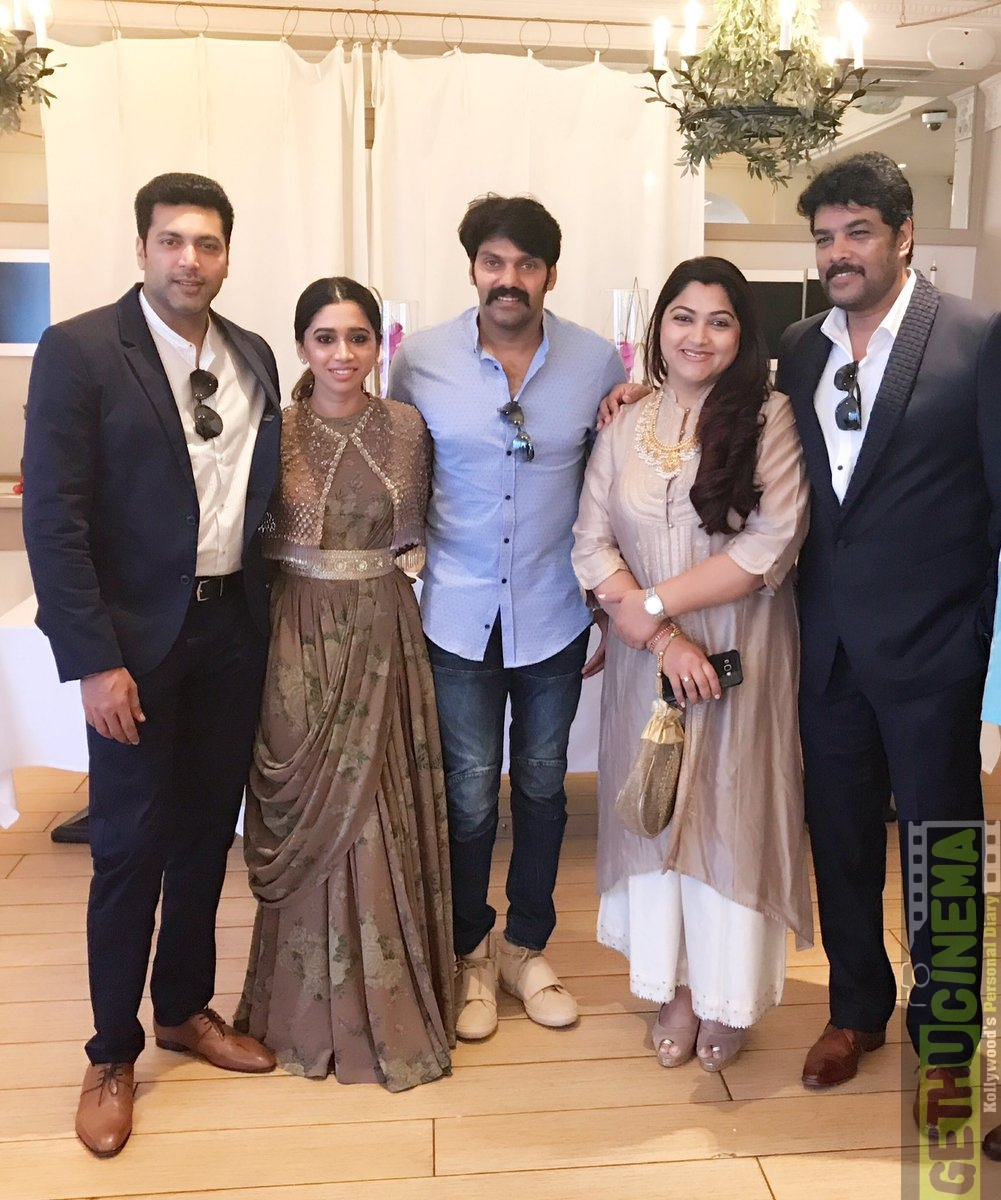 jayam ravi and arya at cannes sangamithra team 2