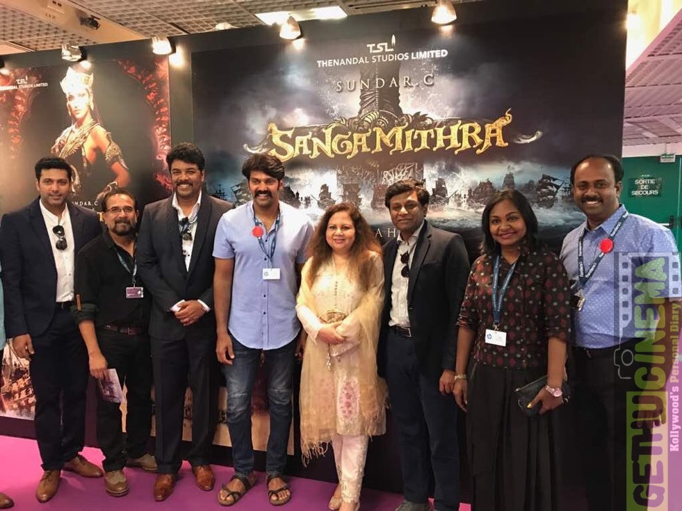 jayam ravi and arya at cannes sangamithra team