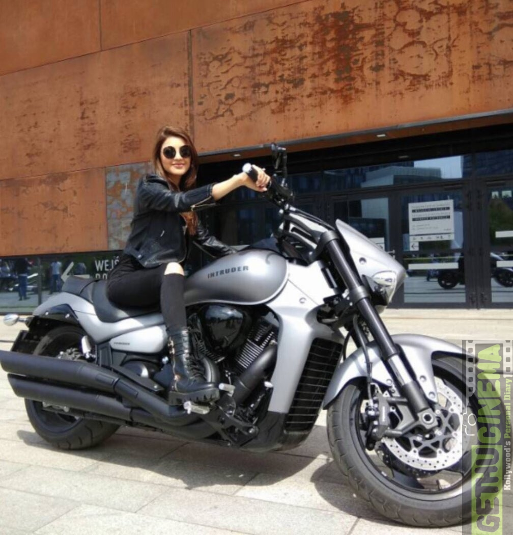 Kajal Agarwal on bike