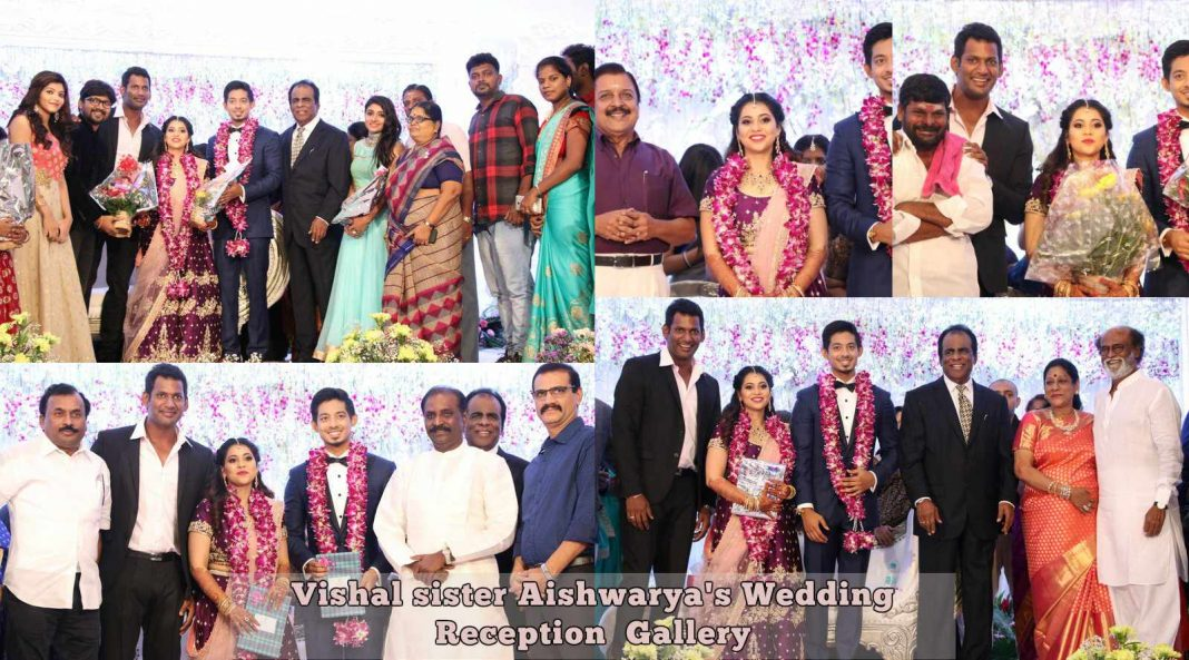 Vishal sister Aishwarya's Wedding Reception photos Gallery
