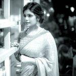 Aathmika, shy, saree