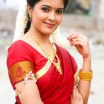 Amritha Aiyer, saree,traditional look,red colour saree
