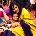 Anjana Rangan, yellow saree, cute baby