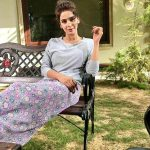 Hindi Medium actress pakistani saba qamar zaman  garden bench pic grey t shirt and violet frock(14)