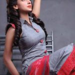 Hindi Medium actress pakistani saba qamar zaman  with ash and red dress dreaming picture