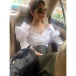 Hindi Medium actress pakistani saba qamar zaman  with black and white dress car photo(24)