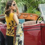 Hindi Medium actress pakistani saba qamar zaman  yellow and black designer clothes with vintage car coolers (6)