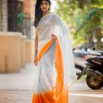 Niranjani Ahathian (7) white orange saree pic