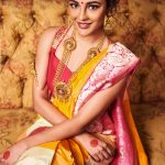 Seerat Kapoor, red and yellow saree