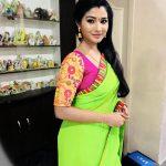 Sharanya Turadi, lite green saree