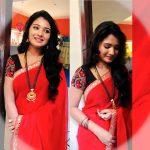 Sharanya Turadi, red saree