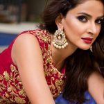 cool looking Hindi Medium actress pakistani saba qamar zaman  red golden green designer lehenga (38)