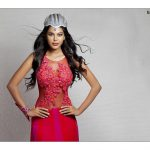natasha suri rose designer transparent white crown navel dress
