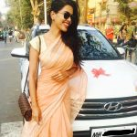 natasha suri rose saree new car celebration white car