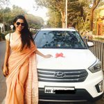 natasha suri sandal saree new car celebration white car