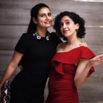 sanya malhotra  in red dress with dangal actress fatima(27)