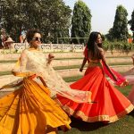 sanya malhotra  in yellow dress wedding dancing candid pic with coolers with her friend(17)