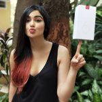 Adah Sharma, black dress, mobile, OnePlus6