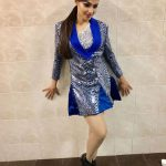 Andrea Jeremiah, blue dress, full size, glamour
