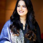 Anushka Shetty, hair style, photoshoot, 2018, blue dress