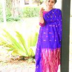 Chandrika Ravi, saree, blue colour