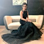 Dhivyadharshini, black dress, sit, photoshoot