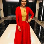 Dhivyadharshini, red dress, full size