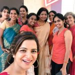Dhivyadharshini, selfie, gang, saree