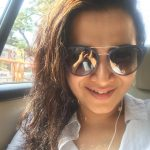 Dhivyadharshini, selfie inside car, cooling glass