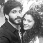 Harshavardhan kapoor with mirzya heroine black and white selfie image(1)