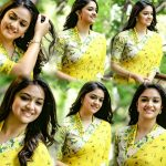 Keerthy Suresh, collage, 2018, yellow, saree, photoshoot