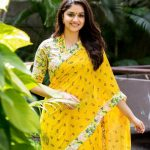 Keerthy Suresh, photoshoot in 2018, saree, yellow colour saree