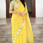 Keerthy Suresh, saree, full size, yellow
