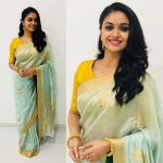 Keerthy Suresh, stylish saree, smile