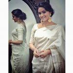 Keerthy Suresh, white saree, geroures