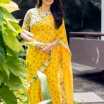 Keerthy Suresh, yellow saree, full size