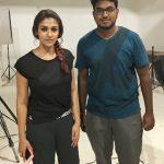 Nayantara, black dress, fan, shooting spot