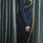 Nivetha Thomas, black saree, full size, high quality