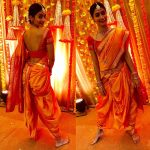 Pooja Hegde, Yellow Saree, Back Pose,