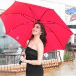Raai Laxmi, rain, black dress,