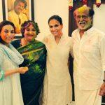 Rajinikanth, aiswarya dhanush, latha, family, holi