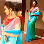 Srushti Dange, Blue Saree, Decent Look