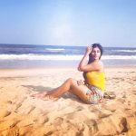 Yashika Aannand, hd, beach, yellow colour dress