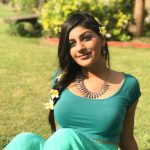 Yashika Aannand, shy, green, blue dress