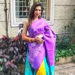 bhavana violet saree pose '(18)