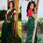 ramya vj in green designer saree with colored blouse in garden
